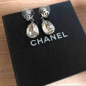 Chanel CC Crystal Teardrop Earring